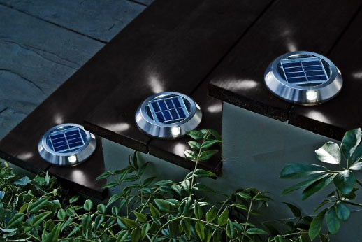 various models of solar deck lights use led bulbs because of its very. Black Bedroom Furniture Sets. Home Design Ideas