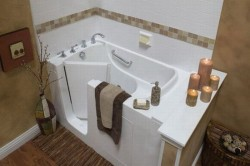 you save space and money by utilizing the dual functioning walk in tub shower combo