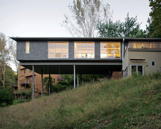 Minimalist modern house exterior - Playful Cantilever House In Kansas City Missouri