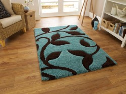 Fashion Blue Flower Rug